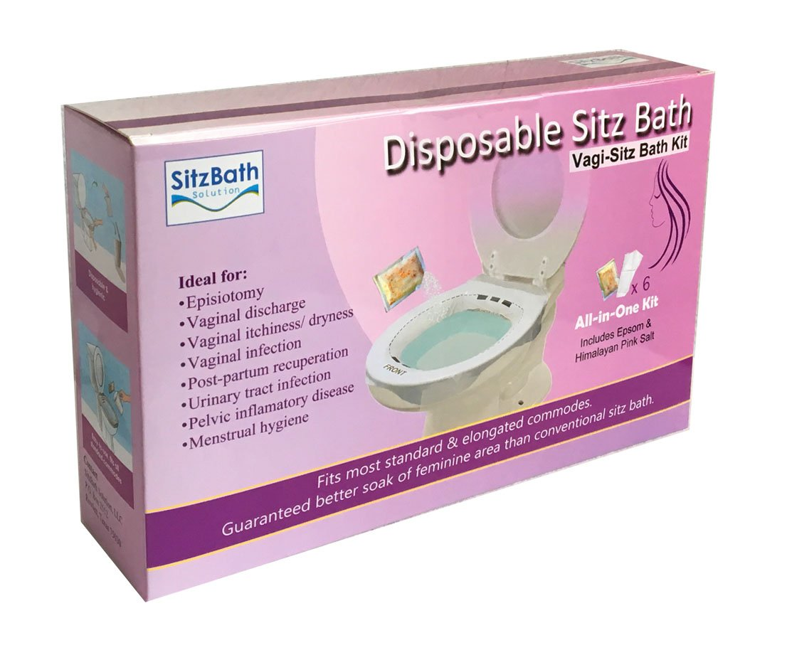 Vagi- Sitz Bath Kit, Disposable Sitz Bath Kit for Vaginal Discharge, Infection, Odor, or Dryness; Disposable & Sanitary Sitz Bath for After Birth, 6ct/pack, Includes Epsom Salt and Himalayan Pink Salt by SitzBath Solution