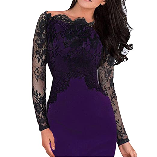 Minisoya Women Off Shoulder Floral Lace Dress Evening Party Cocktail Business Formal Bodycon Pencil Dress (