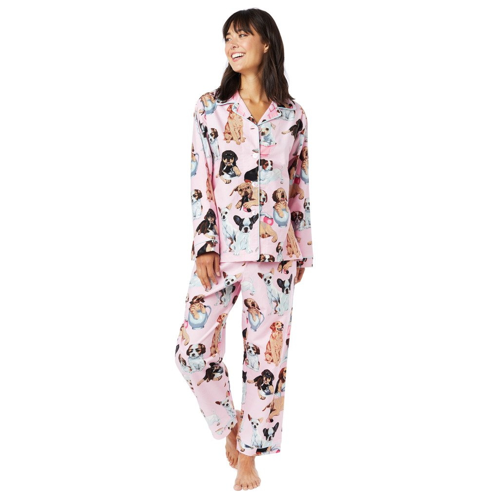 The Cat s Pajamas Teacup Pup Pink Flannel Pajama at Amazon Women s Clothing  store  887f721b1