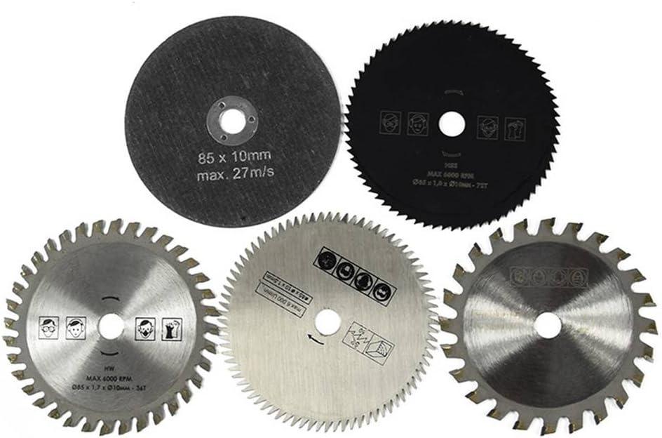 Chowcencen 5 piezas de 85 mm de diámetro, 10 mm de diámetro interior, hoja de sierra circular pequeña, aleación dura, herramientas de corte de rotación