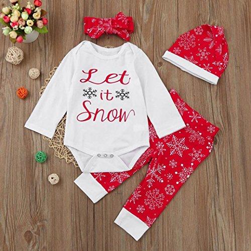 Omiky® Neugeborene Säuglingsbaby-Mädchen-Spielanzug Tops + Hosen + Hut + Stirnband-Weihnachtsausrüstungs-Set Weiß