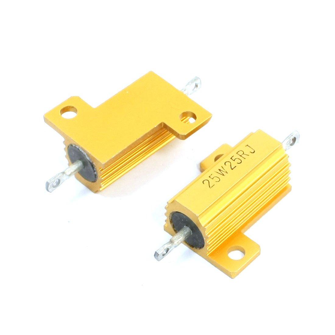 2 PCS Gold Ton Kü hlkö rper Aluminium Untergebracht Fall Widerstand 25 W 25 Ohm Sourcingmap a14012100ux0120