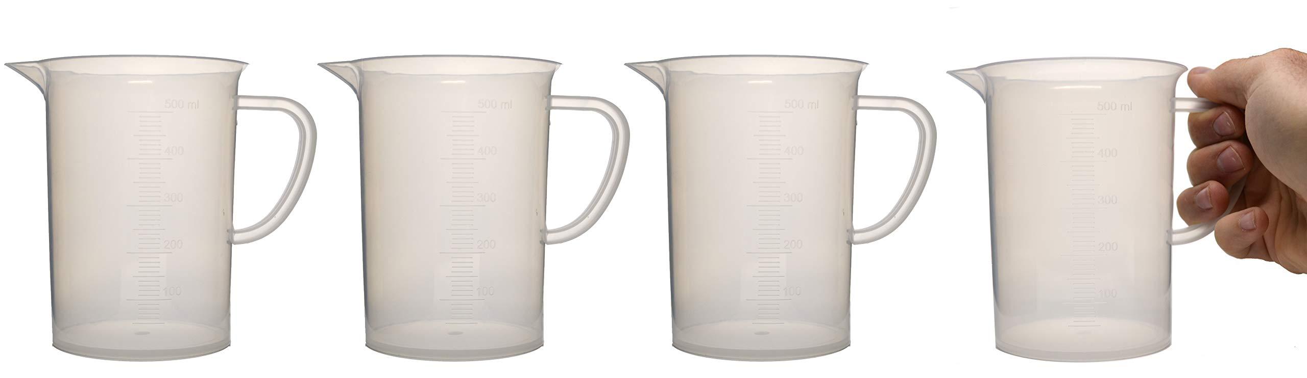 hBAR Premium Polypropylene Beaker Mugs, Laboratory Quality Plastic, 16.9oz (500mL) Capacity - Pack of 4 Mugs - Dishwasher and Microwave Safe by hBARSCI