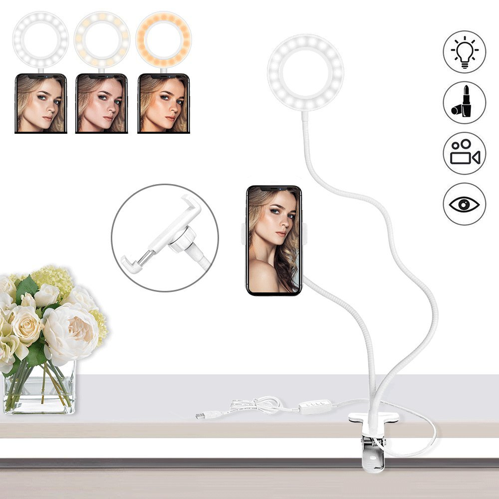 Selfie Ring Light with Cell Phone Holder Stand, Keliiyo LED Camera Light [3-Light Mode] [10-Level Brightness] With Flexible Long Arms for Phone (WHITE) by Keliiyo