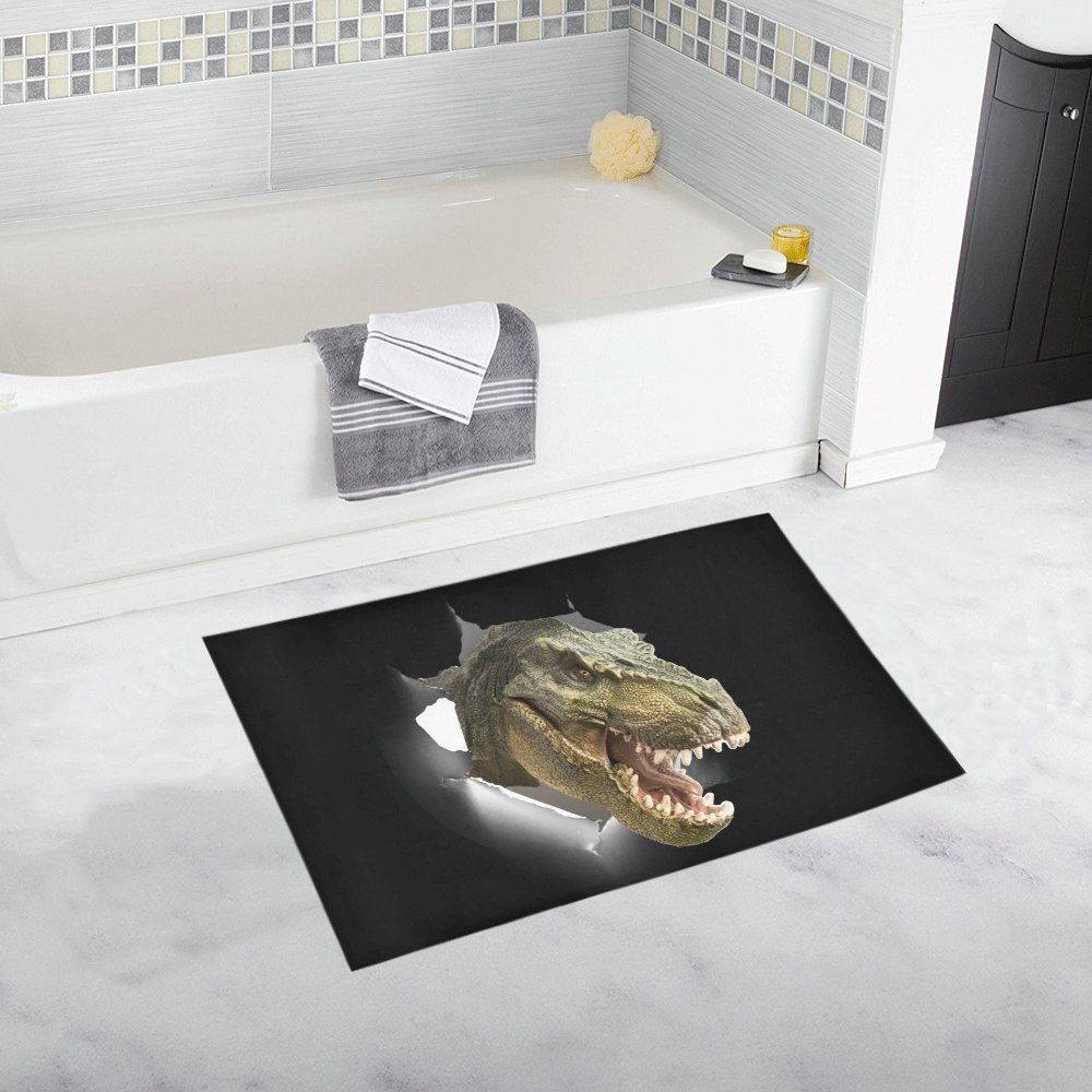 InterestPrint Funny Dinosaur Through Paper Wall Decor Non Slip Bath Rug Set Absorbent Floor Mats for Bathroom Tub Bedroom Large Size 20 x 32 Inches