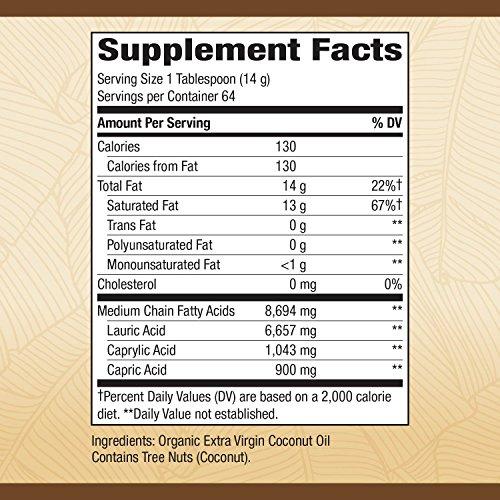 Nature's Way Organic Extra Virgin Coconut Oil Pure Cold-Pressed Organic Non-GMO 32 Ounce