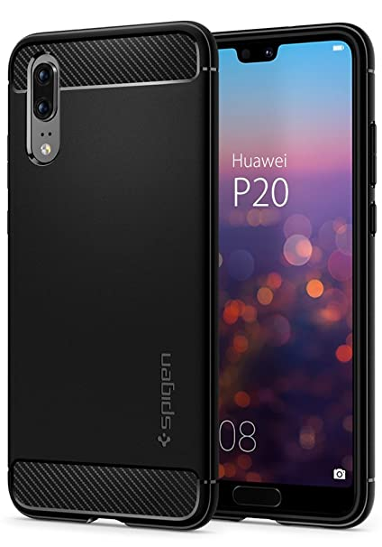 Spigen Rugged Armor Huawei P20 Case With Flexible And Durable Shock Absorption With Carbon Fiber Design For Huawei P20 (2018)   Black by Spigen