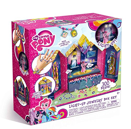 My Little Pony Light-Up Castle Jewelry Box Set - Make and Store Your jewelry, Perfect For Holding Beeds and Charms (300 (Glitter Bead Necklace)