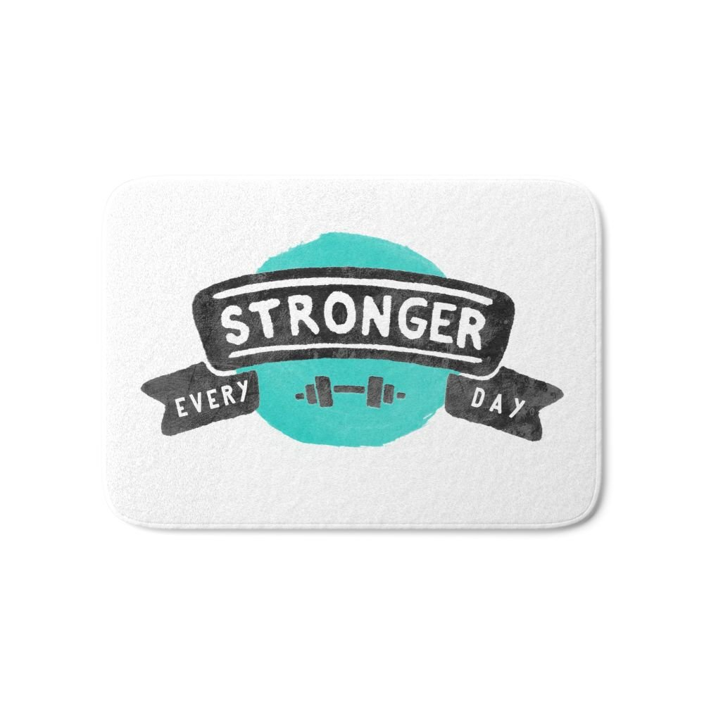Society6 Stronger Every Day (dumbbell) Bath Mat 21'' x 34''