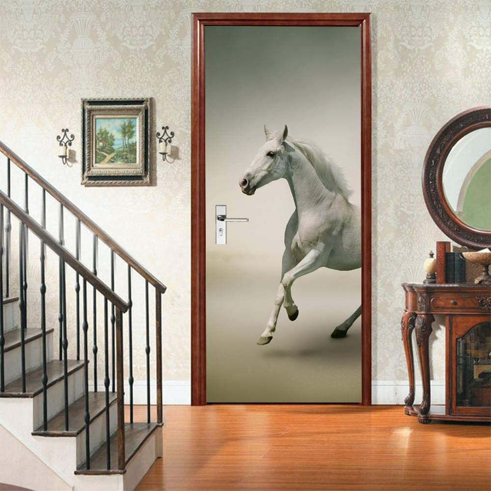Zhoudd 3D Impermeable Autoadhesivo Papel Pintado Caballo blanco animal Pegatinas De Puerta De Pared De Dormitorio Extraíbles A Prueba De Agua Papel Tapiz Decoración De Bricolaje 77x200cm