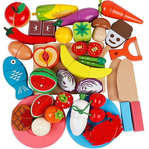 Life&Fun Wooden Cutting Food Toddler Play Food Set Kids Pretend Fruit Vegetable Boys Girls Educational Learning Toy with Cutting Board by Life&Fun