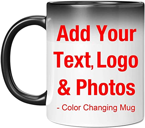 add your own text logo or a Personalized 11oz magic color changing mug photo