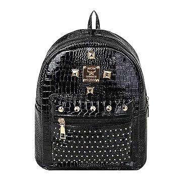 LA HAUTE Women Girls Fashion Backpack Stylish Rivets Mini Casual Daypack  Travel Shopping Bag (Color ee2aaf22bd365