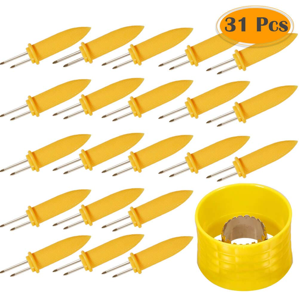 Anezus Corn Holders and Corn Stripper Set – 30Pcs Stainless Steel Jumbo Corn on The Cob Holders and 1pcs Corn Cob Stripping Tool for Home Cooking and BBQ