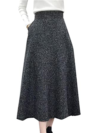 ainr Women High Waist Solid Woolen A Line Swing Maxi Skirts Dark Grey S