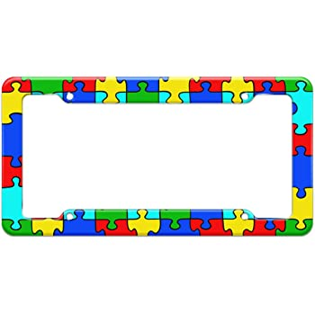 AUTISM AWARENESS TAG LICENSE PLATE FRAME CAR ACCESSORIES BLACK STEEL ...
