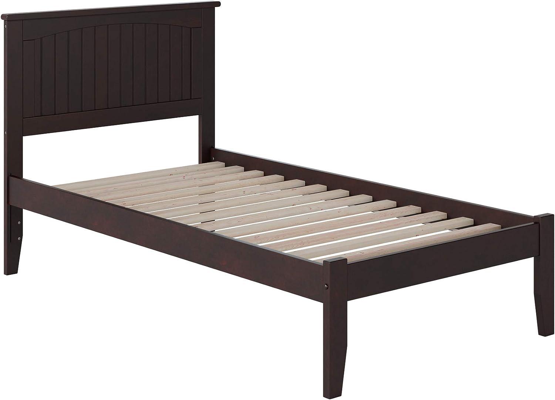 Atlantic Furniture Nantucket Platform Bed with Open Foot Board, Twin, Espresso