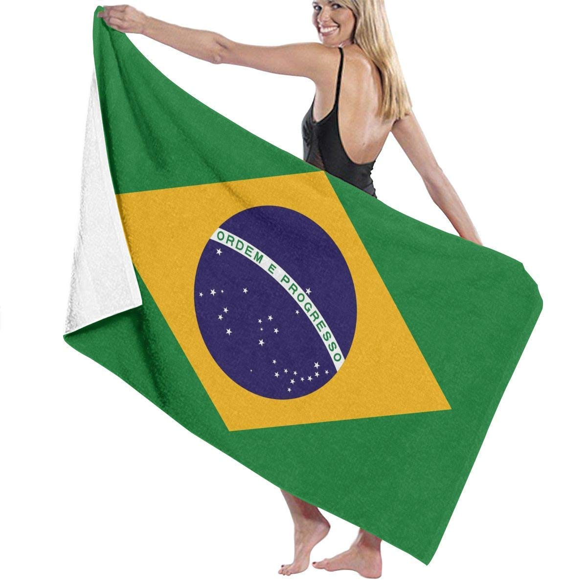 Amazon.com: LONSANT Brazil Flag Microfiber Beach Towels - Travel, Compact Sports, Camping, Surf - Pool Towels - Sand Free, Quick Dry, Extra Absorbent (32 x ...