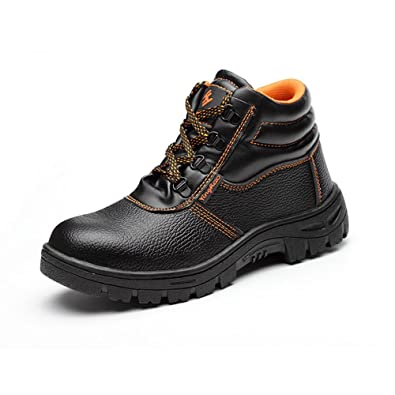 Mens Lightweight Leather Ankle Steel Toe Cap Safety Work Boots Shoes Trainers uk