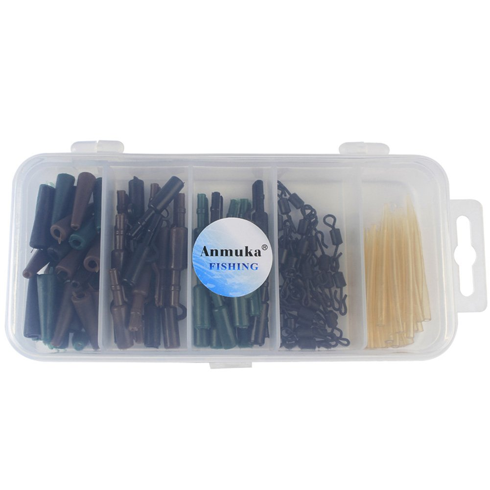 Lintimes 120-Pack Carp Aparejos de Pesca Set//Kit Frente Anti Tangle Mangas Tail cauchos Pin Set con Caja