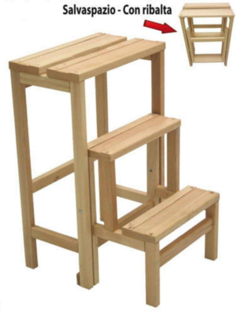 Taburete Escalera Escalera 3 Peldaños silla plegable Salva espacio Fresno: Amazon.es: Hogar