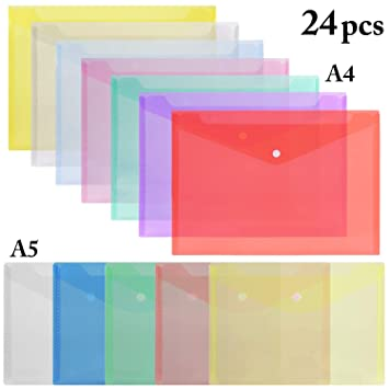 A4 A5 Pochettes Plastiques Zip Fanspack Lot de 12 Pochettes de Classement A4 A5 Pochettes Transparentes /à Fermeture /Éclair Pour Documents Format A4 6pcs A5 6pcs