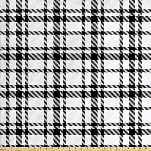 Ambesonne Plaid Fabric by The Yard, Black and White Tartan Pattern Graphic Grid Art Design with Traditional Influences, Decorative Fabric for Upholstery and Home Accents, 2 Yards, Black White ()