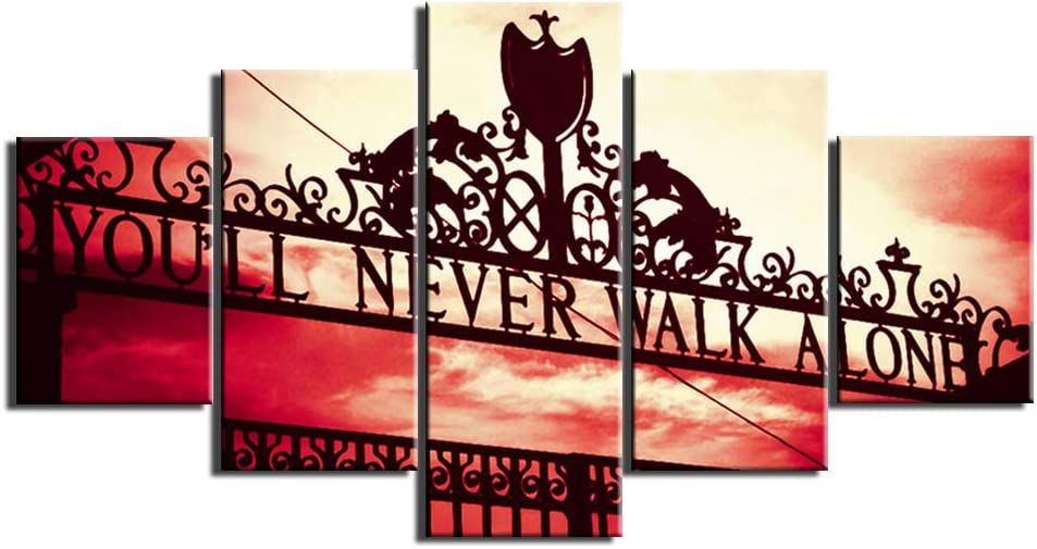 50Wx24H Sports Wall Decor Gate of Liverpool Football Club Paintings Youll Never Walk Alone Pictuers on Canvas Home Decor for Living Room 5 Piece Artwork Modern Framed Stretched Ready to Hang