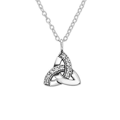 Laimons Damen-Anhänger Dreifaltigkeit oxidiert Zirkonia Kette 45cm Sterling Silber 925