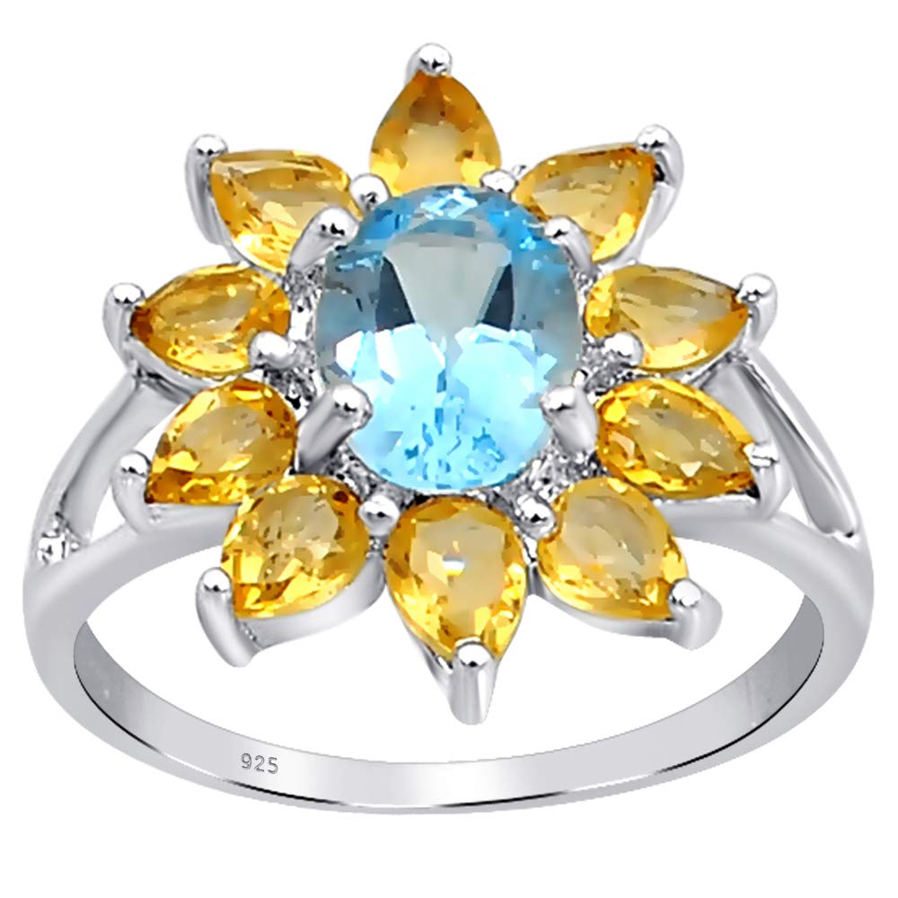 Brooch 925 Sterling Silver with Topaz inserts HandMade TOP Quality Silver Gift for Mom Vintage Sister Wife FREE SHIPPING