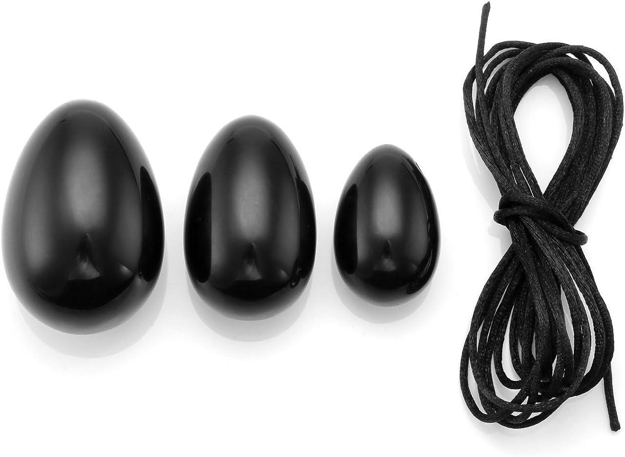 JOVIVI 3PCS Obsidienne Oeuf de Yoni Perc/és avec Ficelle Body Exercise Egg Pierres de Massage pour Les Femmes Renforcer Les Muscles du Plancher Pelvien Kegel et Contre lincontinence Urinaire