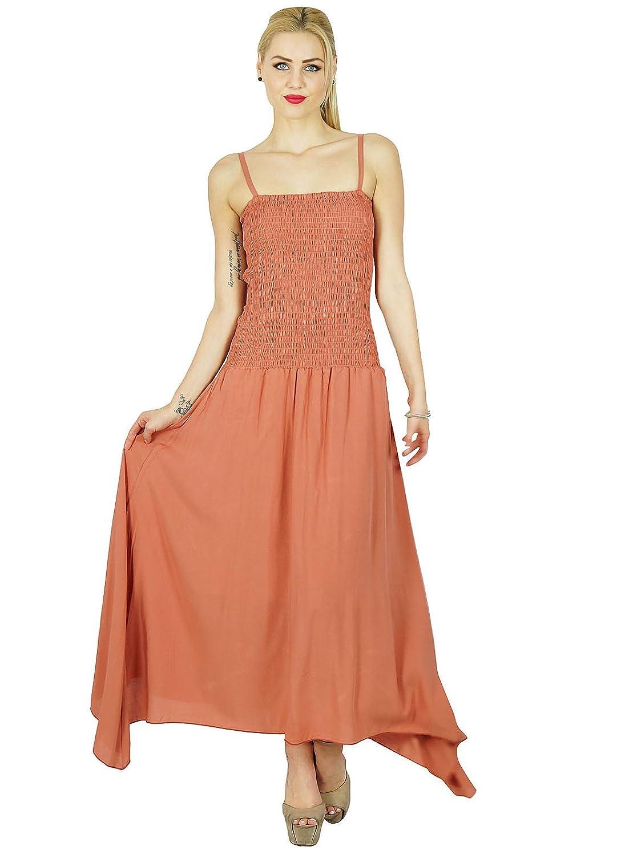 Bimba Women Long Maxi Dress Smocked Waist Top Spaghetti Strap Casual Custom Dress