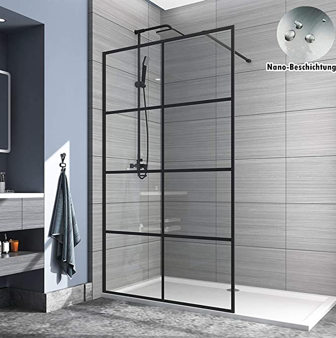 Safeni Walk In - Mampara de ducha (70 x 200 cm, cristal de seguridad transparente, con nanorrevestimiento de 8 mm): Amazon.es: Bricolaje y herramientas