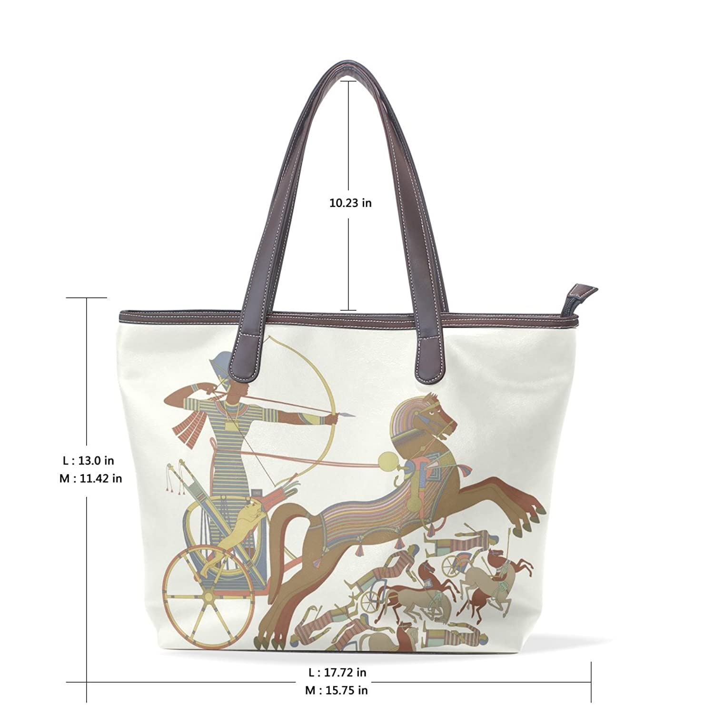 Womens Leather Tote Bag,Ancient Egyptian Mummy Pharaoh Sun God,Large Handbag