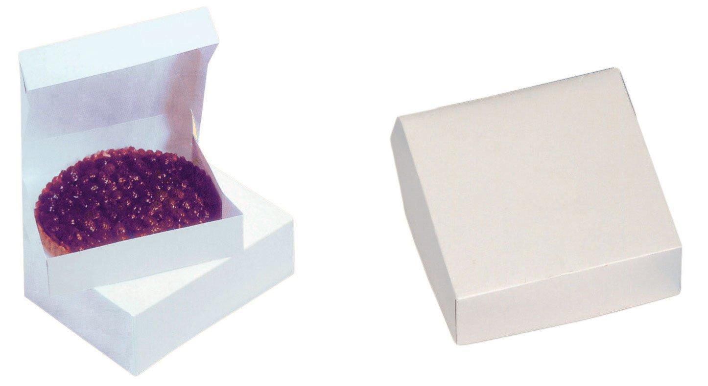 Cuisineonly - Scatola per dolci, quadrata, Dimensioni: 23 x 5 cm, Confezione da 50 pezzi, Colore: Bianco Da cucina: Cucina: monouso (scatole per dolci, o gelato)