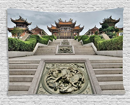 Garden Collection Zen (Ambesonne Home Decor Collection, Traditional Chinese Temple with Mythical Double Dragon Carving Buddha Oriental Zen Garden Photo, Bedroom Living Room Dorm Wall Hanging Tapestry, 60W X 40L Inch, Multi)