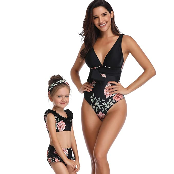 a0d477790dd Swimsuits for Women Girls One Piece Sexy Bikini Set Cute Baby Girls  Swimsuits for Summer Family