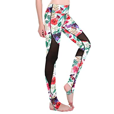 0f89847470fcaf Ensasa Women's Stirrup Leggings, High Waist Printed Work Out Sexy Mesh Yoga  Pants Leggings,