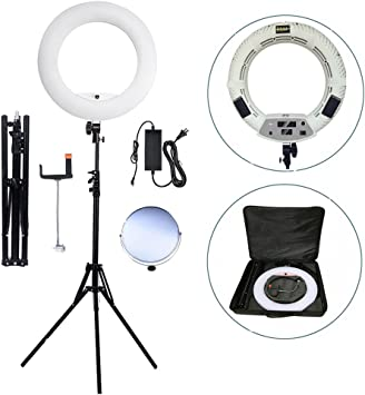 Phone//Camera Bracket Yidoblo FD-480 18 96W 480 LED Ring Light Dimmable 3200K-5500K Bi Color Camera Photo Studio Video Portrait Photography Continuous Lighting Shoot Mirror Adapter White