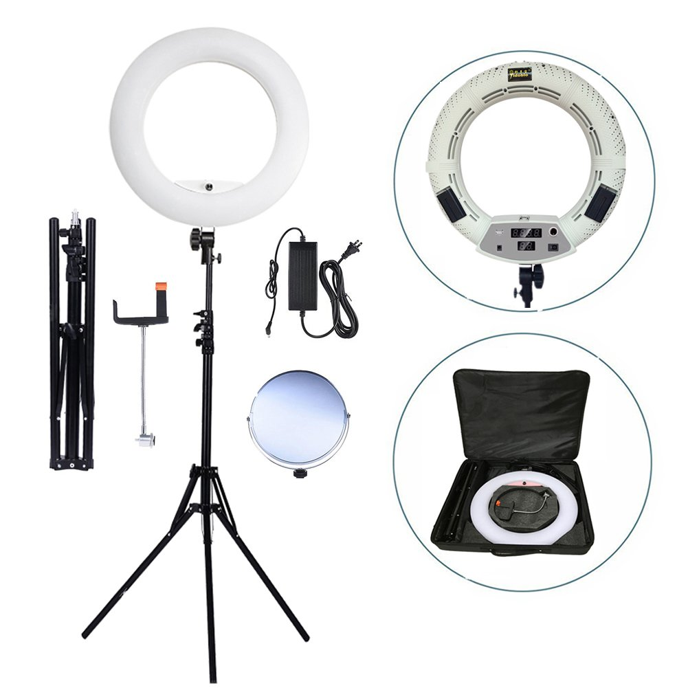 Yidoblo 96W Bicolor 480 LED Ring Light Kit with Makeup Mirror,Light Stand, Camera Phone Holder and Carrying Bag,Dimmable 3200K-5500K Continuous Lighting for Photo Studio Video Photography by yidoblo
