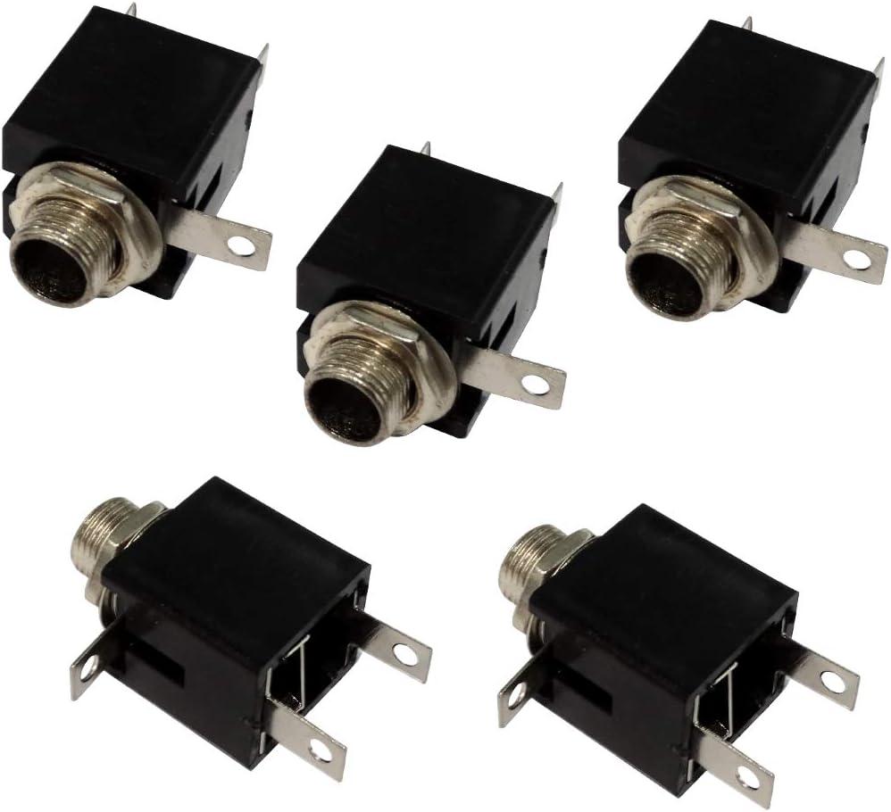 Aerzetix da saldare 6,3 mm rif. C19667 colore: Nero Set di 5 connettori jack mono maschio