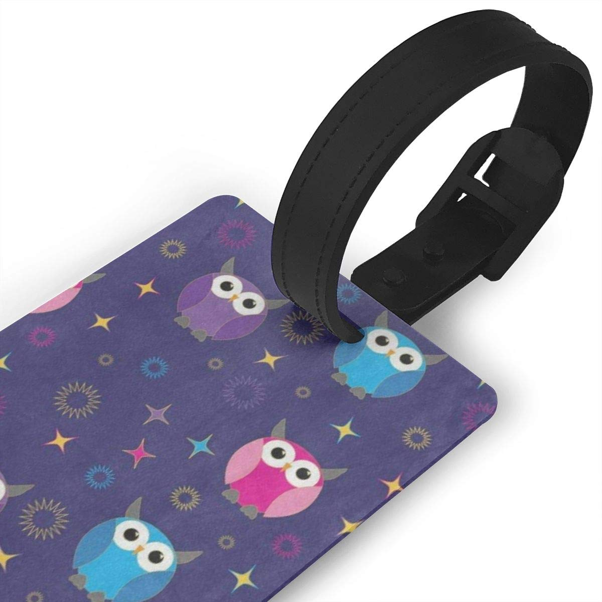Luggage Tags Funny Owl Bird Merry Christmas Bag Tag for Travel 2 PCS