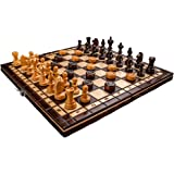"Hand Crafted Cherry Wooden Chess And Draughts Set 13,7"" x 13,7"""