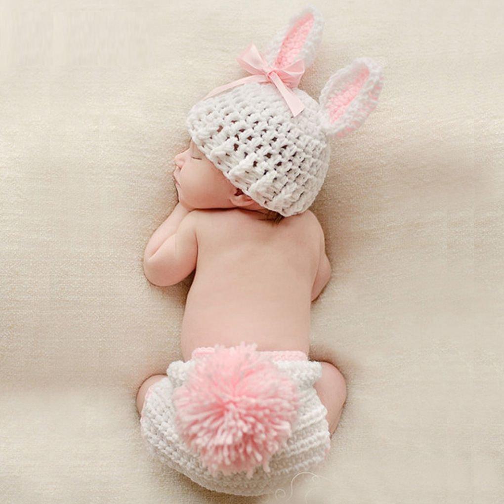 Yangge Yujum Baby-Kleidung Niedlich h/äkeln Neugeborene Baby-Foto-Props Kost/üm-Baby-Fotografie Props Kaninchen-Blumen-Baby-Outfits Set