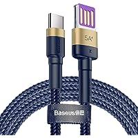 Baseus CATKLF-PV3 Cafule Special Edition Kablo, Type-C 5A, 1M, Mavi, Altın
