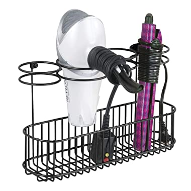 mDesign Metal Wire Cabinet/Wall Mount Hair Care & Styling Tool Organizer - Bathroom Storage Basket for Hair Dryer, Flat Iron, Curling Wand, Hair Straightener, Brushes - Holds Hot Tools - Matte Black