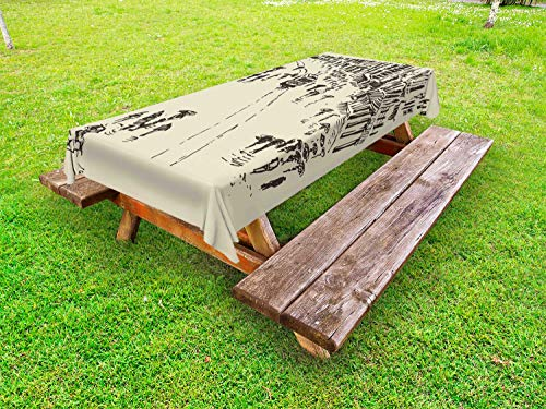 Ambesonne Istanbul Outdoor Tablecloth, Vintage Turkey Istanbul Cityscape Landmark Constantinople Sketch Ottoman Art, Decorative Washable Picnic Table Cloth, 58