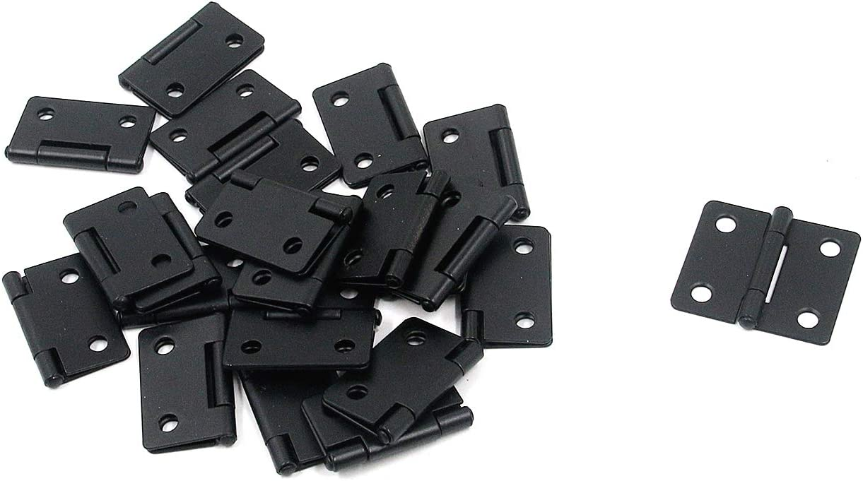 Antrader Retro Butt Hinges, Black Folding Butt Hinges Home Furniture Hardware Door Hinge for Woodworking Projects, with 96 PCS Mounting Screws