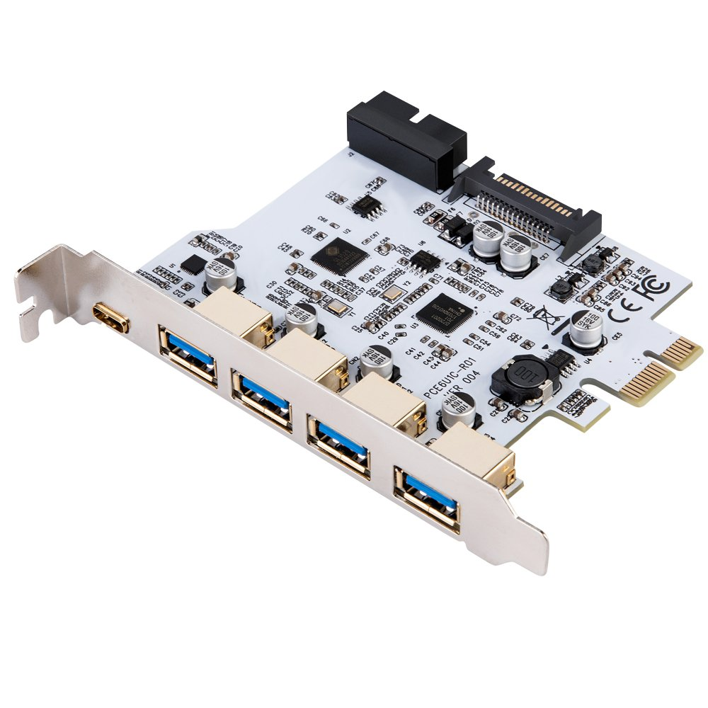 EXPLOMOS PCIE to Type C USB 3.0 Express Card with 15 PIN Power Connector and USB 3.0 Internal 19PIN Connector