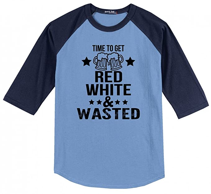 cafdcff7ea Comical Shirt Men's Time Get Red White & Wasted Funny July 4th Party  Carolina Blue/